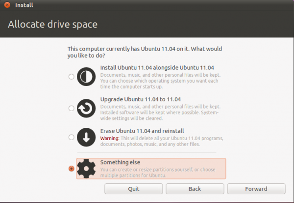 Manual disk partitioning guide for Ubuntu 11.04
