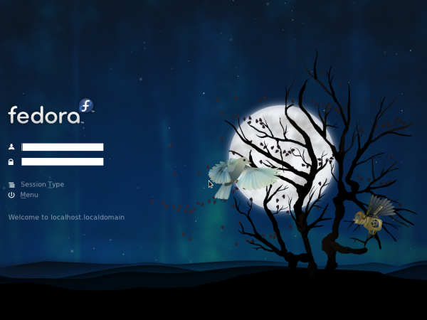 Fedora 15 KDE login screen