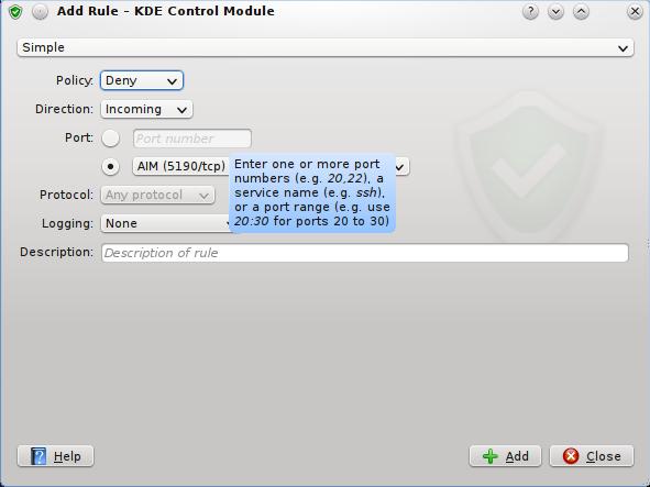 KDE Firewall Control Module UFW
