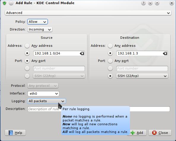 KDE UFW Firewall Control Module