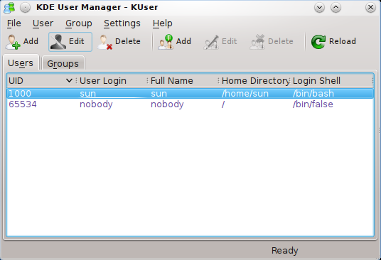 KDE User Manager