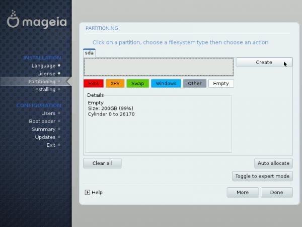 Mageia LVM setup