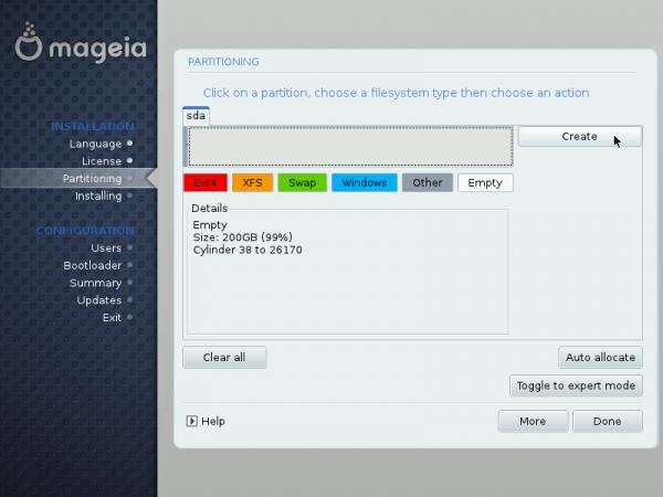Mageia LVM setup 4