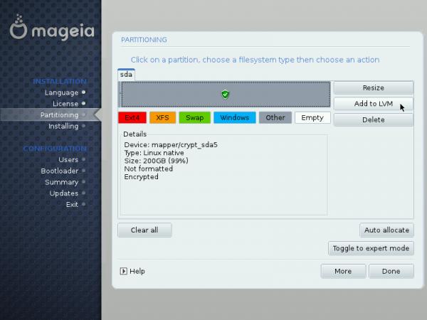 Mageia LVM setup 6