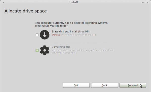 Manual disk partitioning guide for Linux Mint 11