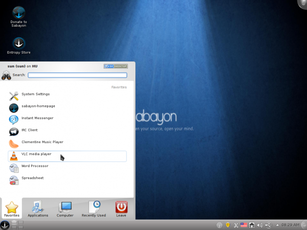 Sabayon 6 Desktop Menu
