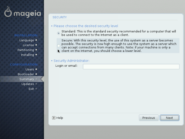 Security Levels on Mageia