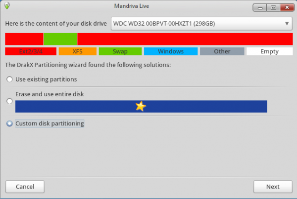 Disk Partitioning Screen on Mandriva Desktop 2011