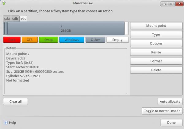 Install Mandriva Desktop 2011 Btrfs