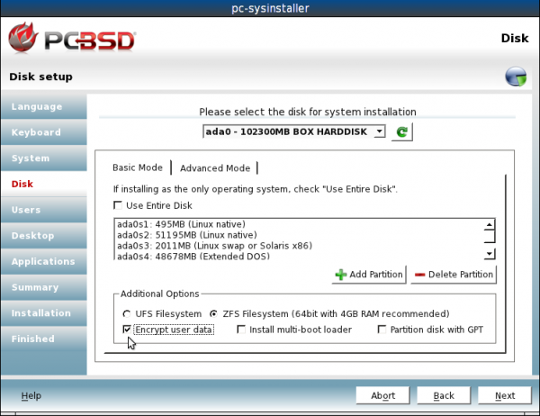 Disk Encryption on PC-BSD 9