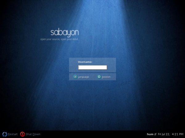 Sabayon 6 GNOME Login Screen