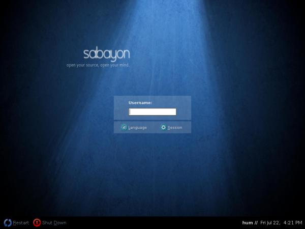 Sabayon 6 GNOME Login Screen