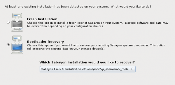 Sabayon 6 GNOME GRUB Recovery