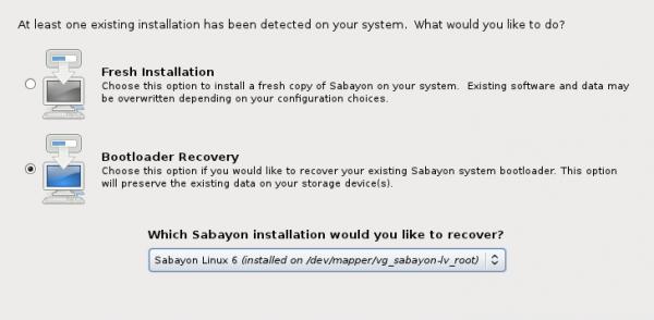 Sabayon 6 GNOME GRUB Recovery