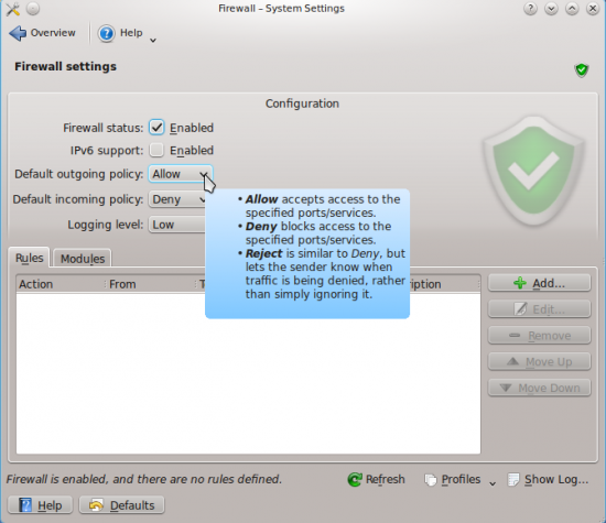 KDE Firewall Control Module