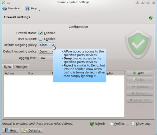 KDE Firewall Control Module
