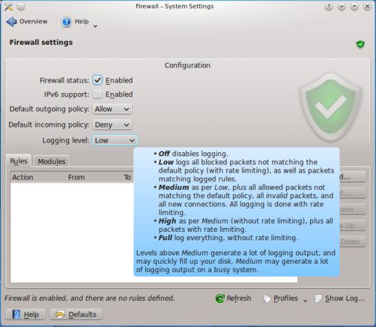 KDE Firewall Module on Chakra