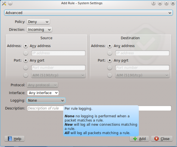 KDE Firewall Module on Chakra Linux Aida