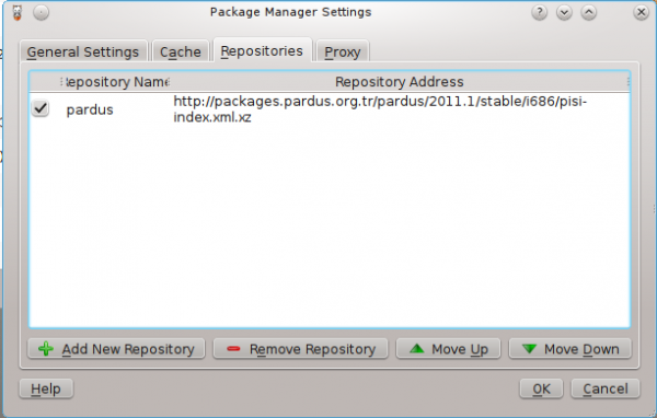 Package Manager on Pardus 2011.1 Dama Dama