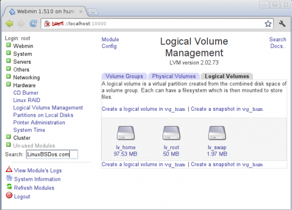 LVM Module of Webmin on Sabayon  6 GNOME