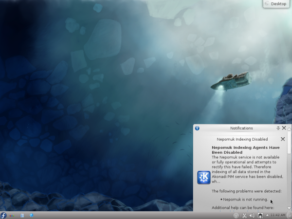 Fedora 16 KDE Desktop Nepomuk