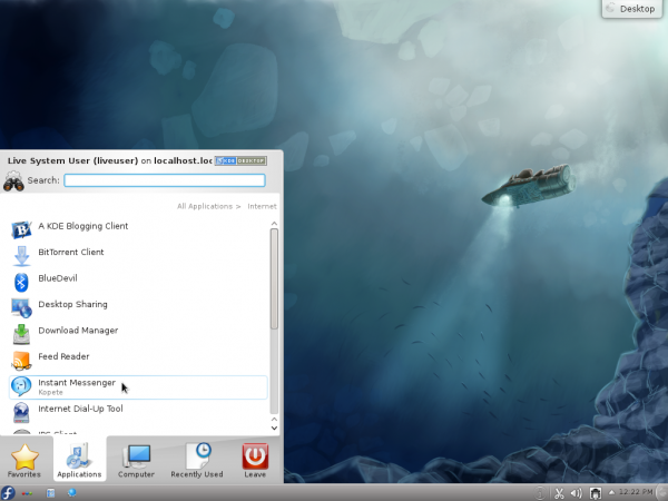 Fedora 16 KDE Kickoff Menu