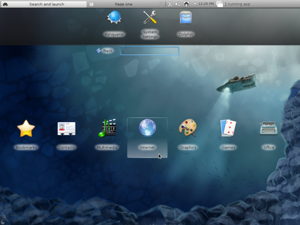 Fedora 16 KDE Netbook Interface