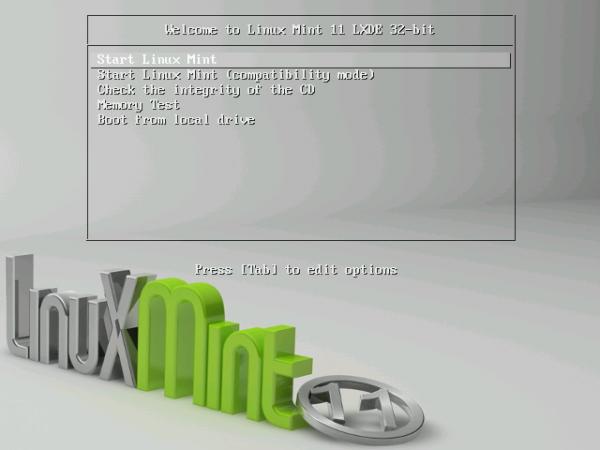 Linux Mint 11 LXDE Boot Menu