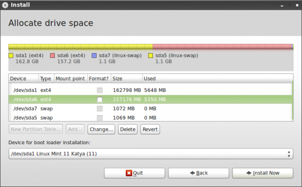 Advanced Partitioning Tool Linux Mint 11 LXDE 