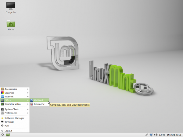 Linux Mint 11 LXDE Desktop Menu