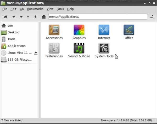 LXDE File Manager, PCManFM, Applications View