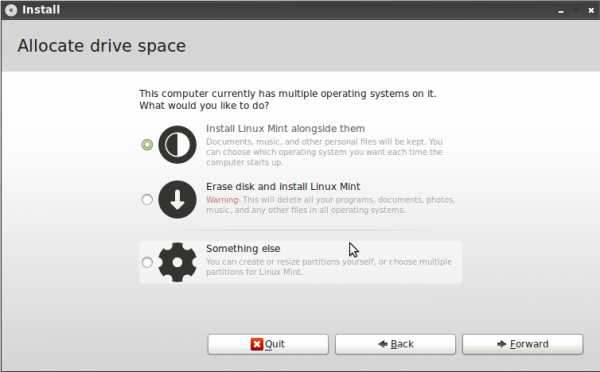 Linux Mint 11 LXDE Install Options