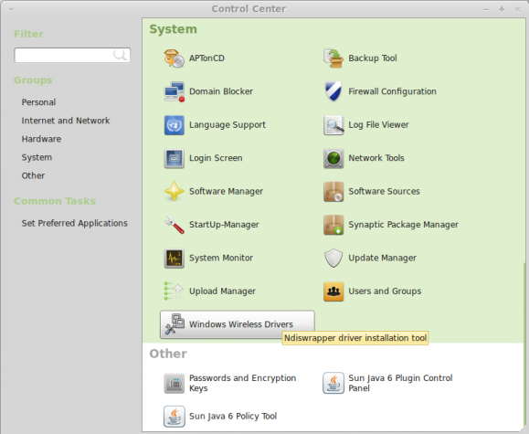 Linux Mint 11 Control Center
