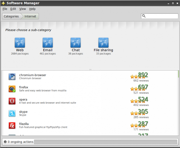 Internet Apps in Software Manager on Linux Mint 11 LXDE