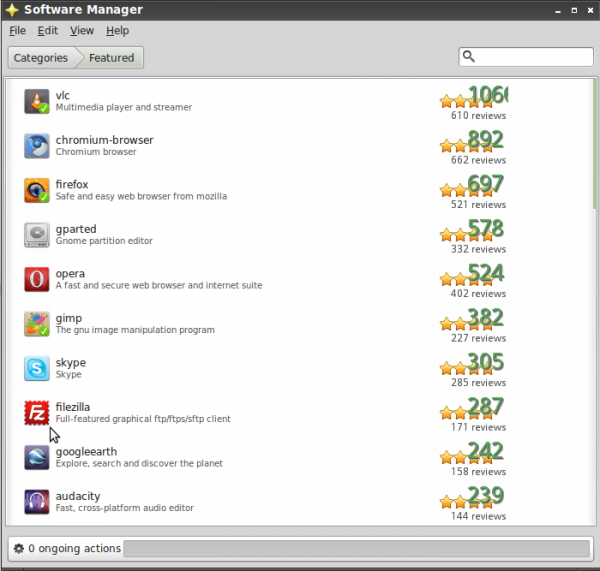 Software Manager's Features Apps on Linux Mint 11 LXDE