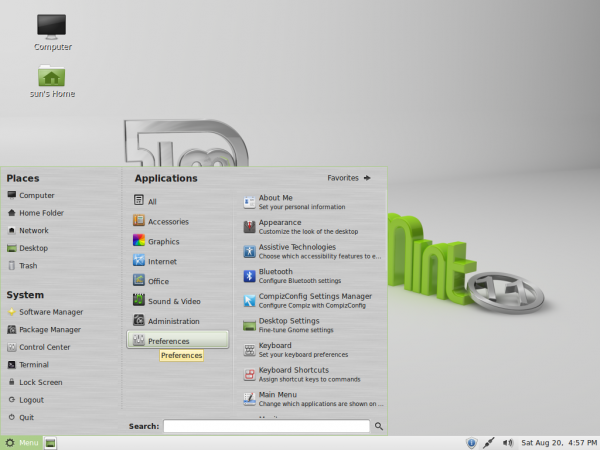 Linux Mint 11 Desktop mintMenu