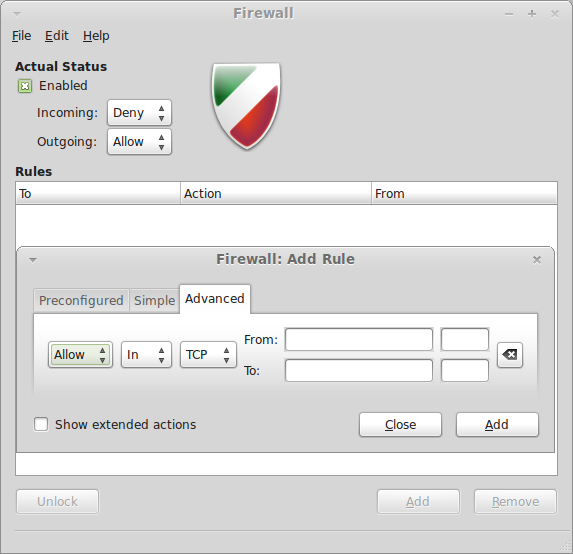 Gufw on Linux Mint 11