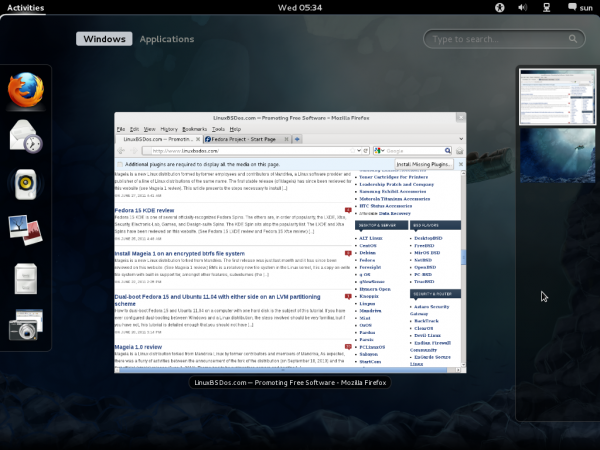 Active Firefox 6 on Fedora 16