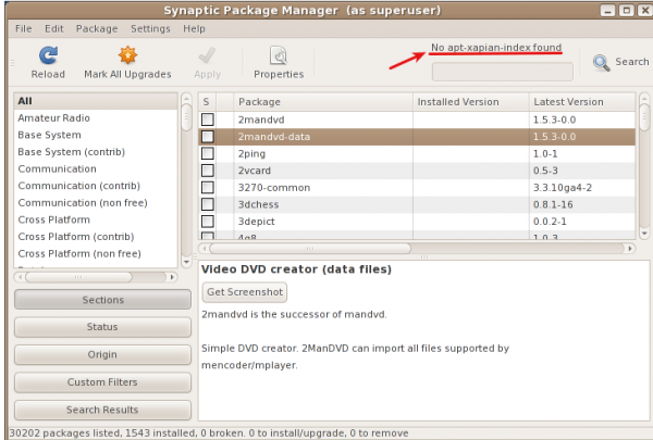 Synaptic Package Manager on Parsix 3.7
