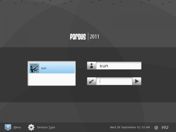 Pardus 2011.2 Login Screen