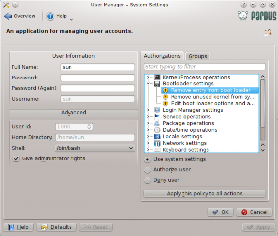 Pardus 2011.2 User Manager