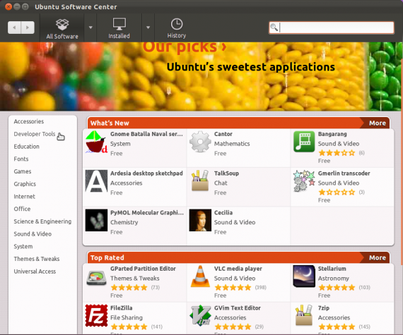 Ubuntu 11.10 Beta 1 Software Center