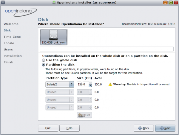 OpenIndiana Disk Partition