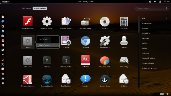 Sabayon 7 GNOME 3 Dock
