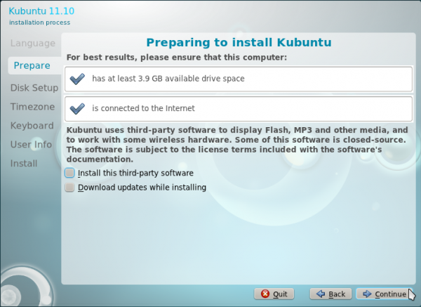 Kubuntu 11.10 Installation Specs