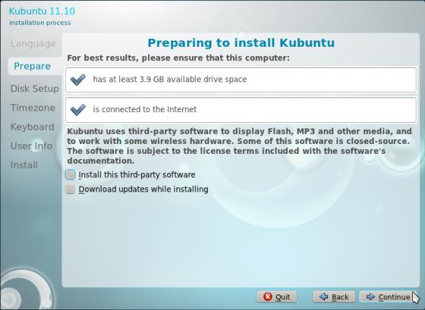 Kubuntu 11.10 Installation Specs