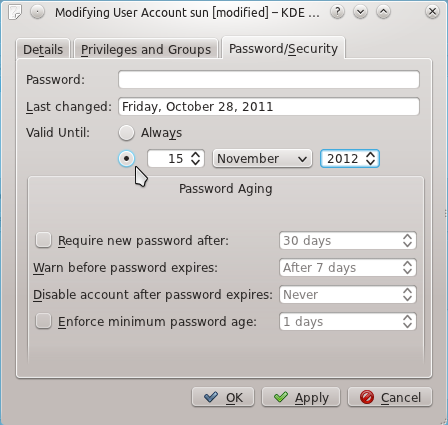 Kubuntu 11.10 Password Aging