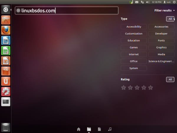Ubuntu 11.10 Search Filter