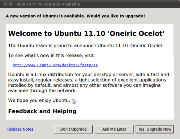 Ubuntu 11.10 Upgrade