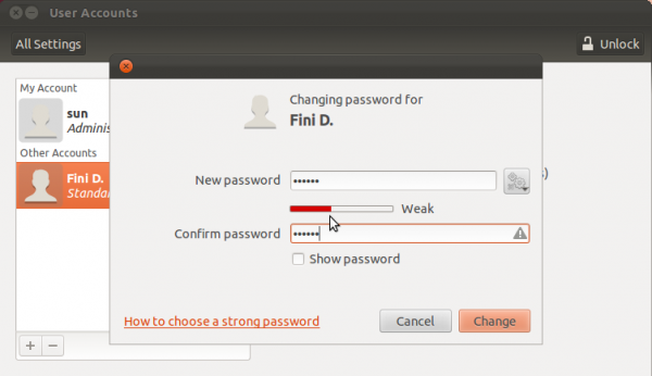 Ubuntu 11.10 Specify User Password